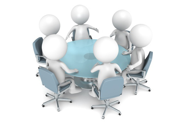 Graphic of peoplke meeting around a table